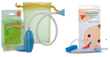 Nasal aspirators via human suction:  BabyComfyNose and Nosefrida.