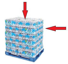 The best position to choose packaged water is located in the middle of the pallet and right beneath the top layer.